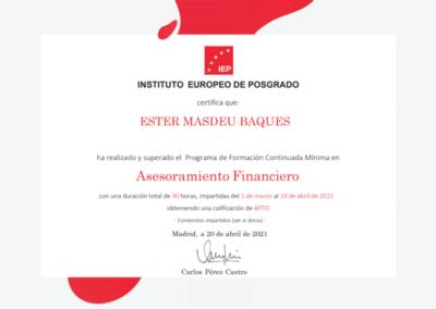 certificat ester assessora financera