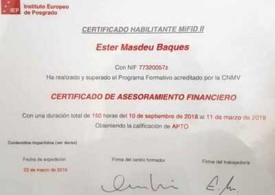 certificat mifid ii assessorament financer allianz iep
